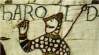 Part of the Bayeux Tapestry showing the arrow in Harolds eye.