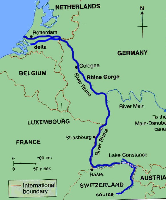 Map Of The Netherlands And Germany.Facts About The River Rhine