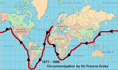 cirumnavigation by Sir Francis Drake